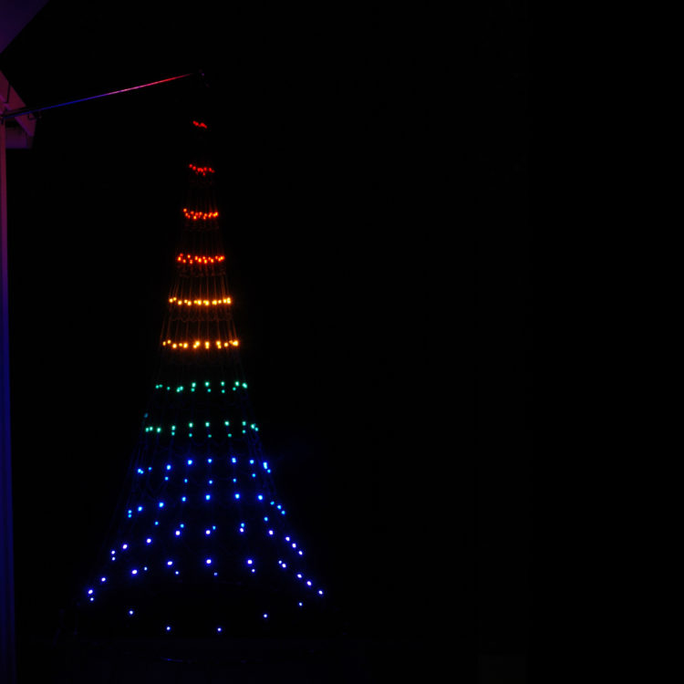 Vlaggenmast Kerstverlichting 192 LED 3D Multicolor gevelmodel