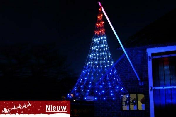 Vlaggenmast Kerstverlichting 192 LED 3D Rood-Wit-Blauw gevelmodel – NIEUW