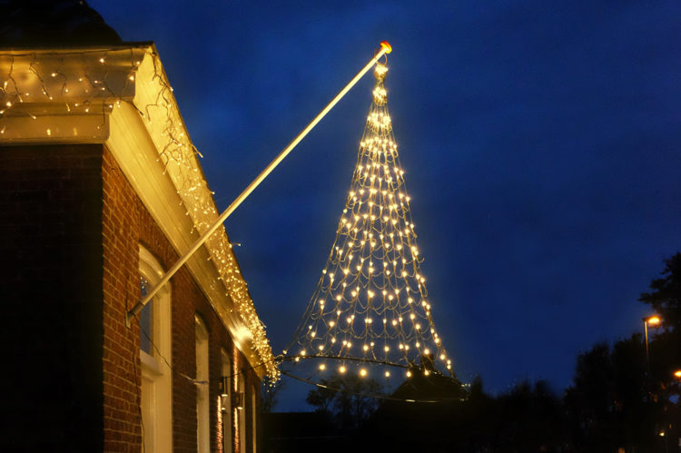 Vlaggenmast Kerstverlichting 192 LED 3D warmwit gevelmodel