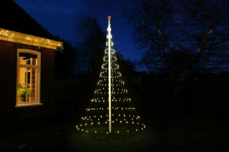 Vlaggenmast Kerstverlichting 400 LED 3D Warmwit